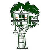 Vinilo Casita en el árbol Verde oscuro, naranja 75x120cm