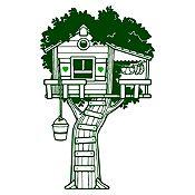 Vinilo Casita en el árbol Verde oscuro, verde claro 100x160cm