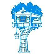 Vinilo Casita en el árbol Azul claro, menta