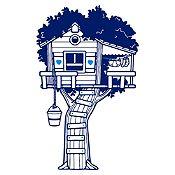 Vinilo Casita en el árbol Azul oscuro, azul claro