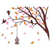 Vinilo Árbol en Primavera Marrón, rosado, naranja 120x94cm