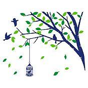 Vinilo Árbol en Primavera Azul oscuro, verde claro, verde oscuro 140x110cm