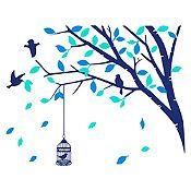 Vinilo Árbol en Primavera Azul oscuro, menta, azul claro 100x79cm