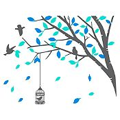 Vinilo Árbol en Primavera Gris oscuro, menta, azul claro 120x94cm