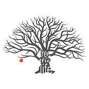 Vinilo Árbol de la vida Gris oscuro, rojo 172x120cm