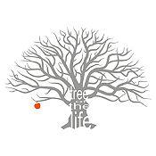 Vinilo Árbol de la vida Plata, rojo 172x120cm