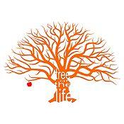 Vinilo Árbol de la vida Naranja, rojo 144x100cm