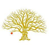 Vinilo Árbol de la vida Dorado, rojo 172x120cm