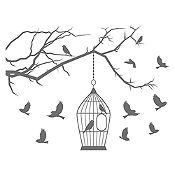 Vinilo Aves en libertad Gris Oscuro 140x106cm
