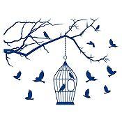 Vinilo Aves en libertad Azul Oscuro 140x106cm