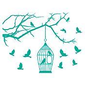 Vinilo Aves en libertad Verde Esmeralda 125x95cm