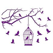 Vinilo Aves  en libertad Morado