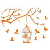 Vinilo Aves en libertad Naranja 110x84cm
