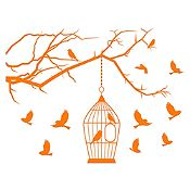 Vinilo Aves en libertad Naranja 125x95cm