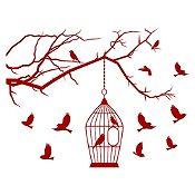 Vinilo Aves en libertad Vinotinto 110x84cm