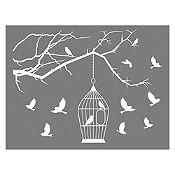Vinilo Aves  en libertad Blanco
