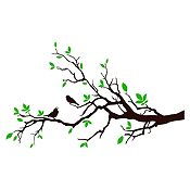 Vinilo Aves en rama Verde claro, negro 120x72cm