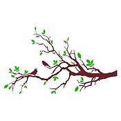 Vinilo Aves en rama Verde claro, marrón 120x72cm