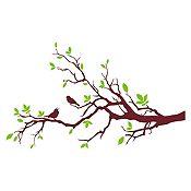Vinilo Aves en rama Verde claro / vinotinto