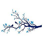 Vinilo Aves en rama Azul oscuro, azul claro 140x84cm