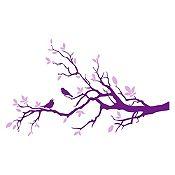Vinilo Aves en rama Morado / lila