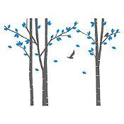 Vinilo Árboles del bosque Gris oscuro, azul claro 214x160cm