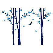 Vinilo Árboles del bosque Azul oscuro, azul claro 240x180cm