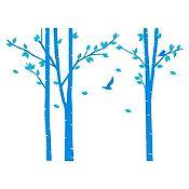 Vinilo Árboles del bosque Azul claro, menta 214x160cm