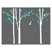 Vinilo Árboles del bosque Blanco, menta 186x140cm