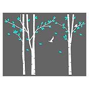 Vinilo Árboles del bosque Blanco, menta 240x180cm