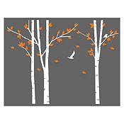 Vinilo Árboles del bosque Blanco, naranja 240x180cm