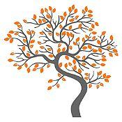 Vinilo Árbol decorativo Gris oscuro / naranja