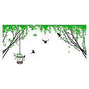 Vinilo Aves en el parque Verde claro, negro 130x62cm