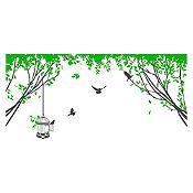 Vinilo Aves en el parque Gris oscuro, verde 110x52cm