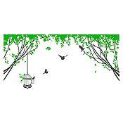 Vinilo Aves en el parque Gris oscuro, verde 150x70cm