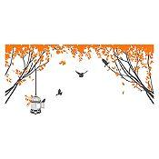 Vinilo Aves en el parque Gris oscuro / naranja