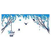 Vinilo Aves en el parque Azul oscuro, azul claro 150x70cm