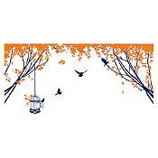 Vinilo Aves en el parque Azul oscuro, naranja 130x62cm