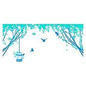 Vinilo Aves en el parque Azul claro, menta 110x52cm