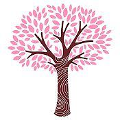 Vinilo Árbol frondoso Marrón, rosado 110x120cm