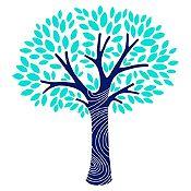 Vinilo Árbol frondoso Azul claro, menta 110x120cm