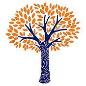 Vinilo Árbol frondoso Azul oscuro, naranja 130x140cm