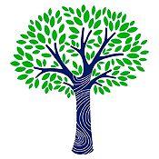 Vinilo Árbol frondoso Azul oscuro, verde claro 130x140cm