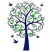 Vinilo Árbol espiral Azul oscuro, verde claro