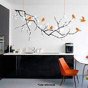 Vinilo Rama horizontal y aves Negro, rosado, naranja