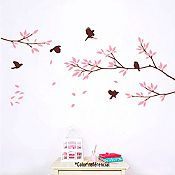 Vinilo Aves y ramas Gris oscuro, lila 135x62cm