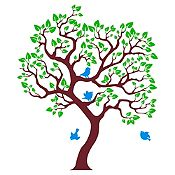 Vinilo Árbol ensueño Marrón, verde claro, azul claro 102x120cm