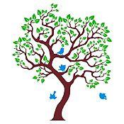 Vinilo Árbol ensueño Marrón, verde claro, azul claro 118x140cm