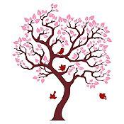 Vinilo Árbol ensueño Marrón, rosado, vinotinto 86x100cm