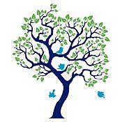 Vinilo Árbol ensueño Azul oscuro, verde claro, azul claro 86x100cm